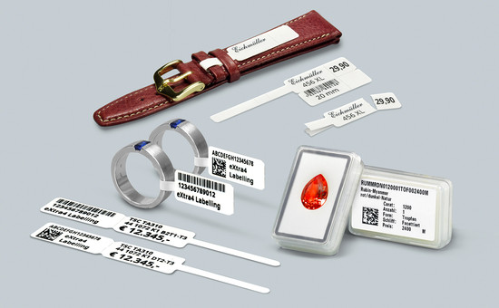 Barcode labels for jewellery, watches and gems